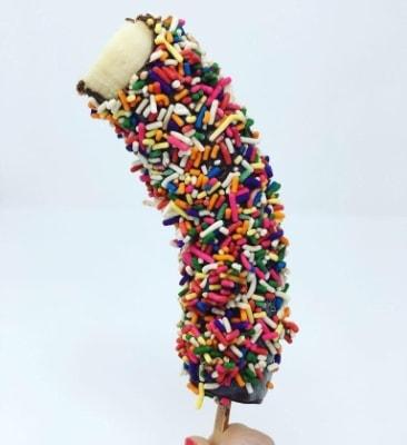 Chocolate Covered Banana with Rainbow Sprinkles